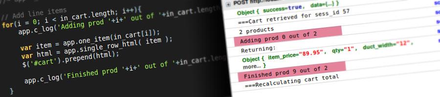 Web development Javascript code screenshots.