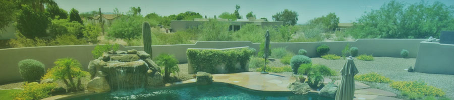 Outdoor shot of Scottsdale water feature and backyard with desert landscaping.