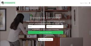 Screencap of EVERNOTE main page.