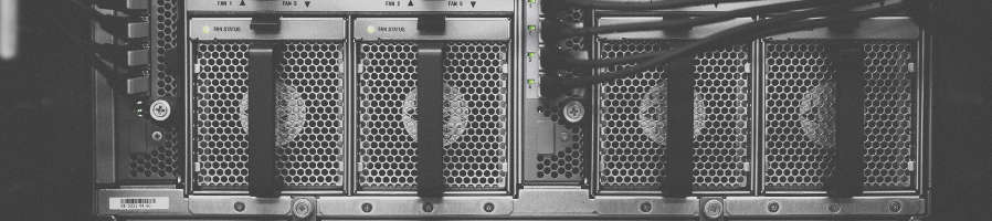 Web host server from the back side with plug.