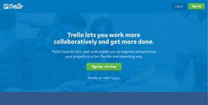 Screencap of TRELLO work board main page.